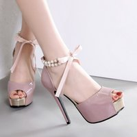 Wholesale pink bridesmaids sandals for sale - Group buy Goddess2019 High Women With Waterproof Platform Fish Mouth Pearl Bow Bridesmaid Sandals Woman