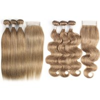 Wholesale blonde hair for sale - KissHair Color Light Brown Ash Blonde Brazilian Straight Hair Bundles with Closure Human Hair Weave Body Wave Virgin Hair