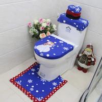 capas de radiador venda por atacado-3 Pcs Natal Tapete Santa Tampa de Assento Do Toalete Pé Pad Radiator Cap Não-slip Bath Mat Set Banheiro Decoração de Natal