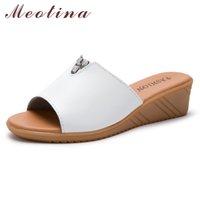 Wholesale cow leather men sandals resale online - Women Slippers Summer Shoes Cow Leather Platform Wedge Heel Rhinestone Open Toe Slides Ladies Sandals Gray Beige Size