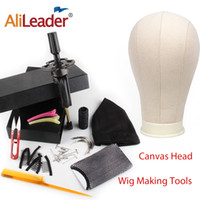 Wholesale stand 21 resale online - Alileader Cheap inch Canvas Block Mannequin Head For Wig Making Tools Wig Dome Head Stand Spandex Cap Human Hair Bands