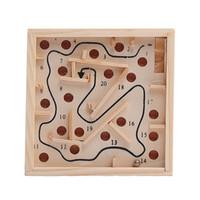 размер головоломки оптовых-Настольная игрушка Ball In Maze Puzzle Головоломка ручной работы Игрушка для детей Мини-размер Дети Интеллектуальное развитие Развивающие головоломки