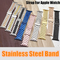 Wholesale apple watch connector adapter for sale - Group buy Stainless Steel Watchbands Wrist For Apple Watch Men Watch Band Strap Bracelet Accessories Sport mm mm With Adapter Connector