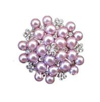 ingrosso inviti di nozze di spilla-Vintage tono argento strass Crystal Diamante e Faux Cream Pearl Cluster Grande bouquet da sposa Pin Pin Spilla Wedding Invitation Pins Jewelry