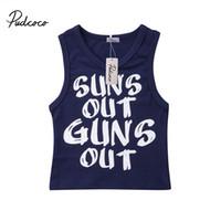 erkekler için rahat yelek toptan satış-2019 0-24 M Yenidoğan Çocuk Erkek Bebek Yaz Plaj Kolsuz Mektup Rahat T-shirt Yelek Elbise Tops