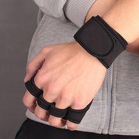 guantes de fitness mano al por mayor-Fitness Deportivo antideslizante guantes de los medios guantes de entrenamiento Gimnasia apretones de mano de Palm Protección 1 par