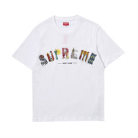 Wholesale art curves for sale - SU SS City Arc Tee Embroidered Art City Curved Rainbow LOGO Cotton Round Neck T Shirt PREME