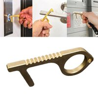 Wholesale multi tool opener resale online - Hygiene Hand Metal EDC Contactless Safety Door Opener Multi functional Keychain Brass Hand Tools Party Favor RRA3090