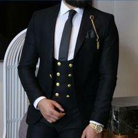 Wholesale gray wool vest for sale - Group buy Newest Peak Lapel Groomsmen One Button Wedding Groom Tuxedos Men Suits Wedding Prom Dinner Best Man Blazer Jacket Tie Vest Pants