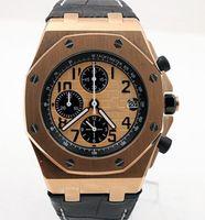 оранжевые наручные часы оптовых-Горячие продажи кварцевые хронограф часы из нержавеющей стали корпус из розового золота оранжевый циферблат часы 42 мм мужские наручные часы с черным кожаным ремешком