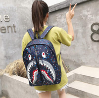 Wholesale cool fashion school bags resale online - Fashion Leopard Shark Mouth Backpacks For Teenagers camouflage Travel Backpack Kids School Bags Cool Laptop Bag