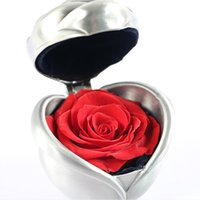 Wholesale flower pouches weddings resale online - Handmade Preserved Rose Bud Flower Jewelry Box Mother Wedding Valentine Day Gift wedding Jewelry Display Rose Gift Box Romantic