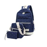 комбинированный рюкзак оптовых-3 pcs/set Women Backpack Cross body Bag Clutch Combination Canvas Backpack Fashion Crossbody Bag Hand Schoolbag for Girls