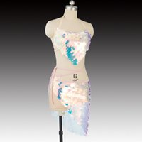 trajes de dança de lantejoulas venda por atacado-Two Piece Define Sexy Mulheres Belly Dance Costume Ladies Stage Desempenho Mini Lantejoula Saia Belt e Vest