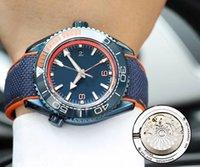 banda de cristal azul venda por atacado-Novo Estilo Automático 8500 Movimento Speeed Mestre De Vidro de Volta Azul Dial Men Watch Nylon Banda de Cristal De Safira Frete Grátis