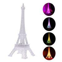 led eiffel kuleleri toptan satış-BRELONG Eyfel Kulesi Gece Işıkları Akrilik Renkli Işıklı Masa Gece Işıkları Çocuk Yılbaşı Hediyeleri Tatil Yatak Odası Dekorasyon Işık
