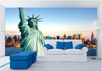 heykel özgürlük duvarı toptan satış-WDBH 3d duvar kağıdı özel fotoğraf Özgürlük Heykeli New York Şehir arka plan oturma odası ev dekor için 3d duvar kağıdı duvar kağıdı duvarlar 3 d