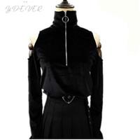 ingrosso nero dalle spalle-Harajuku Sexy Women Crop Magliette Dark Black Gothic Punk Rock Dolcevita Maglietta Velluto Tees Off Shoulder Manica lunga Anello Top
