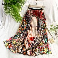 schwarzer spitzen-tutu plus größe großhandel-Faldas mujer moda 2019 Frauen Rock European American Cartoon Porträt Muster Elastische Taille Faltenrock plissee jupe femme