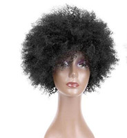 pelucas de moda afroamericana al por mayor-New human hair wigs European and American style African-American black wig cover explosion head black wig fashion small volume wig