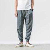 pantalon en lin noir hommes achat en gros de-Casual sarouel hommes coton noir lin lâche pantalon de jogging hommes fitness pantalon homme 2019 été, plus la taille 4XL 5XL