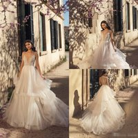 Wholesale sexy wedding party dresses online - 2019 Summer Boho Wedding Dresses Spaghetti A Line Lace Beaded Tiered Skirts Wedding Dress Backless Custom Made Beach Bridal Party Gowns