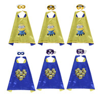 Wholesale minions gifts online - Cute superhero Minions costumes for kids cartoon superhero cosplay cape mask for Halloween Christmas birthday party favors child gifts