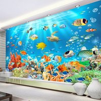 paredes do aquário venda por atacado-Quarto Dropship PVC impermeável Mural Wallpaper 3D Underwater World Peixe Photo Wall Etiqueta de Kid Vinil Aquarium Wallpapers
