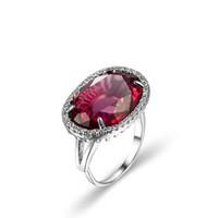 ingrosso anello d'argento rosso granato-6 pezzi / lotto gioielli da sposa ovale rosso granato gemme argento donne anelli ridimensionabili