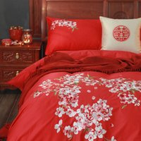 Wholesale red quilted bedding resale online - Embroidered Sateen Cotton Wedding Family of Four Big Red Wedding Bedding