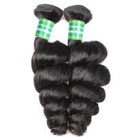 ingrosso capelli vergini peruviani 28 pollici di colore nero-Capelli vergini peruviani Wave 8A estensioni dei capelli sciolti naturale colore nero 8-28 pollici capelli Produts Beauty Store