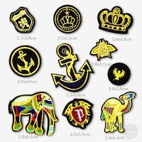 anker-eisen-patches großhandel-Elefant Kamel Crown Anchor Abzeichen Eisen auf Patches Abzeichen Stickerei Patch Applique Kleidung Kleidung Nähzubehör dekorativ