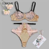 3282072566c5c2 COLROVIE Cut Out Eyelash Lace Sexy Lingerie Set Briefs Women Intimates 2019  Transparent Female Underwire Underwear Bra Set