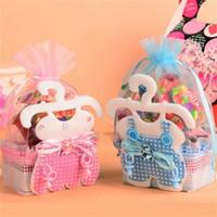 ingrosso confezioni regalo doccia per bambini-Biberon Baby Shower Favore Borse Abbigliamento Pink Blue Wedding Candy Packing Bag Kid Fashion Gift Wrap 1 7qnD1