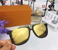 popular sunglasses оптовых-Роскошные Мужские Популярные Дизайнерские Солнцезащитные Очки Ретро Винтаж Блестящий Золотой Летний Стиль Лазерная Логотип Позолоченные UV400 Очки С Чехлом 0937