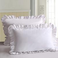 travesseiro de ruffle branco venda por atacado-2 Pcs Branco Fronha De Cama De Algodão Sólida Plissado Travesseiro Sham Princesa Europeu Protetor de Capa de Travesseiro 48 * 74 cm Fronha