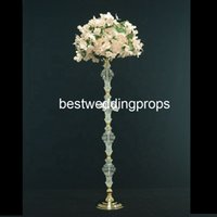 Wholesale tall crystal wedding centerpieces resale online - New style Decorative tall gold wedding flower stand centerpieces best01137