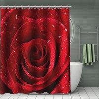 ingrosso docce rosse docce-Stampa digitale Rosa rossa Tenda da doccia 3 Deisgns Bagno Tenda da bagno impermeabile Tenda da bagno per hotel Impermeabile 2 pezzi ePacket