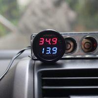 akü voltmetresi toptan satış-2 In 1 DC 12 V 24 V Dijital Araba Voltmetre Termometre Sıcaklık Ölçer Pil Monitör Kırmızı Mavi Led Çift ekran Ücretsiz Kargo