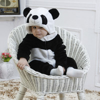 Wholesale new born unisex clothes online - Flannel Winter Panda Baby Boys Girls Rompers Kids Clothing New Born Cute Animal Cartoon Toddler Children s Rompers Clothes
