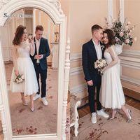 Wholesale tea length winter ivory wedding dress online - 2019 Short Jewel A line Wedding Dresses With Long Sleeves Bridal Gowns Vestidos De Novia Wedding Dresses