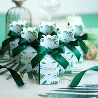 sacs de bébé verts achat en gros de-Fête d'anniversaire Fournitures de mariage Faveurs de mariage Cadeau Décoration Vert Boîtes à bonbons en papier Sac de cadeau Boîte de cadeau de mariage Faveurs de bébé
