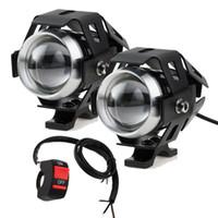 sürüş lambaları led spot toptan satış-Anahtarı ile 2 ADET 125 W Motosiklet Farlar Motosiklet spot U5 LED Moto Sürüş Sis Spot Başkanı Işık Lambası DRL