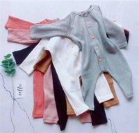 ingrosso bodysuits di lycra-Nuovi disegni INS Infant Toddler Baby Boys Ragazze Pagliaccetti Autunno Autunno Manica lunga Bottoni frontali Tute in cotone bianco di qualità Tute