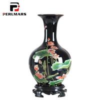 vasos de mesa chinesa venda por atacado-Vaso De Mesa de Estilo chinês Flor Do Vintage Padrão de Cerâmica Vasos de Flores / Vinho Cooler Decoração Do Armário Lembrança Artesanato Como Presente de Aniversário