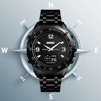 luxus-schrittzähler großhandel-SKMEI Männer Sportuhr Kalorien Schrittzähler Stoppuhr Armbanduhr Luxus Kompass Themometer Digitaluhren Für Jungen Wasserdichte Uhr