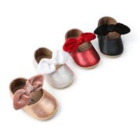 детская обувь для ходьбы оптовых-Cute Baby Girls Принцесса Обувь С Бантом Дети PU Кожаная Мягкая Подошва Обувь Повседневная Обувь для Ходьбы Малыша Кроссовки Детские Первые Ходунки