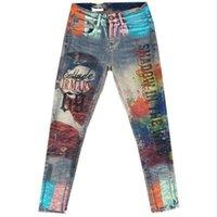 jeans novo quente para as mulheres venda por atacado-2019 outono inverno novas calças de brim das mulheres da moda hot stamping skniiy lápis estiramento calça jeans plus size 3XL
