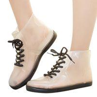 anti-rutsch-high heels großhandel-Qualitäts-Frauen Regen wasserdichter Stiefel Abdeckung Schuhe Stiefel wiederverwendbare Schuh-Abdeckungen Dickere Anti-Rutsch-Plattform Regen JU15 1