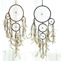 plastik diy ornamente großhandel-Dreamcatcher Dreamnet Hanging Ornaments Diy Kunststoff Windspiele Feder Wanddekor Objekte Mode Einfache Geburtstagsgeschenk 9 9xfC1